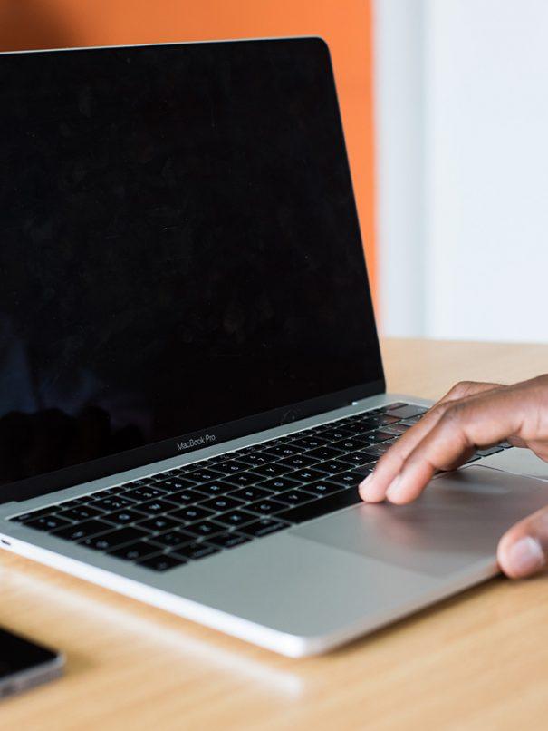 macbook being used
